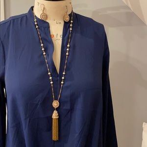 J crew long tassel necklace with earrings